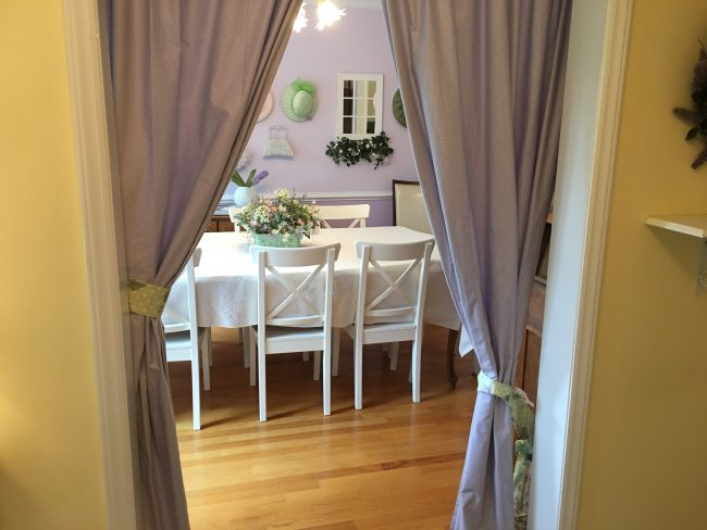 Peek into the Purple Dining room from the foyer