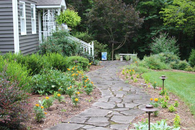 Stone walk to the front door.