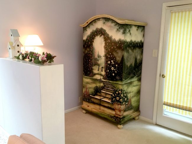 Hand painted armoire for storage